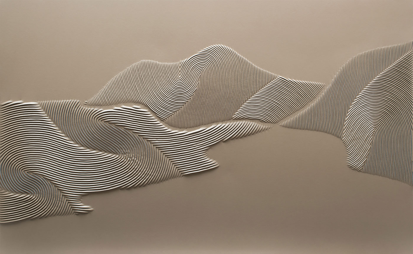 Coastline artwork by Helen Amy Murray, hand-sculpted in pearl cream faux leather inspired by Half Moon Bay in California