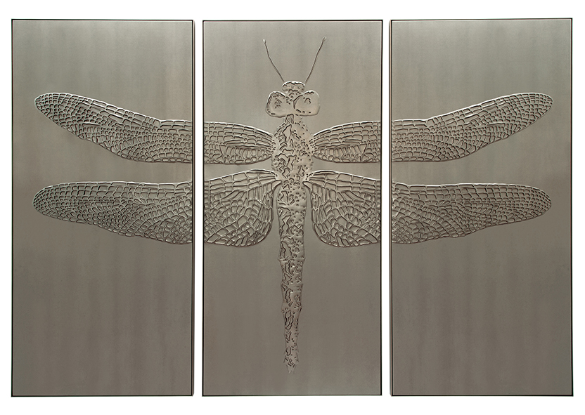 Hand-sculpted dragonfly triptych artwork in a steel colour shagreen textured faux leather and matching colour aluminium frame