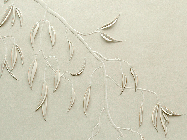Detail of Eucalyptus artwork by Helen Amy Murray showing branches and leaves, hand-sculpted in grey faux suede