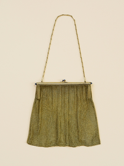 Photograph of a vintage metal clasp purse with metal chain handle on cream background