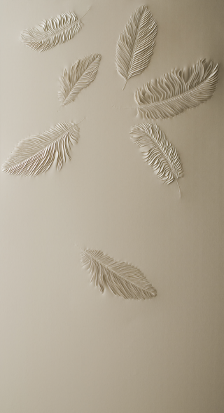Hand-sculpted artwork by Helen Amy Murray with seven falling feathers in cream faux leather