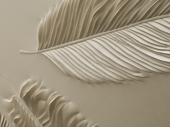 Detail of hand-sculpted artwork with feathers in cream faux leather