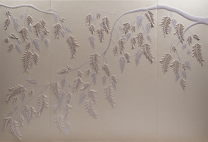 Hand-sculpted white faux suede artwork by Helen Amy Murray featuring a fern design with white silk crepe satin appliqué
