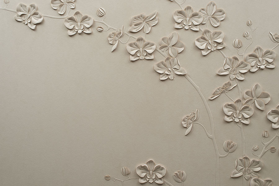 Detail of hand-sculpted Orchid artwork by Helen Amy Murray in off-white faux suede
