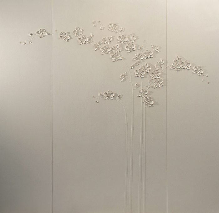 Orchid artwork by Helen Amy Murray in three panels featuring hand-sculpted orchid stems in off-white faux suede