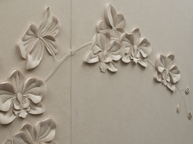 Side-view detail of Orchid hand-sculpted artwork by Helen Amy Murray in off-white faux suede
