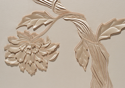 Detail of Tree of Life artwork, hand-sculpted in pale peach faux suede with blush silk crepe satin appliqué