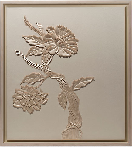 Tree of Life is an artwork by Helen Amy Murray, hand-sculpted in pale peach faux suede with blush silk crepe satin appliqué
